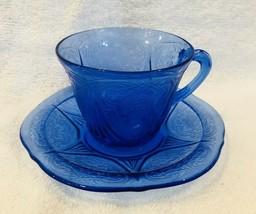 Antique Royal Lace Cobalt Cream Sugar Hazel Atlas Depression Glass - $26.24