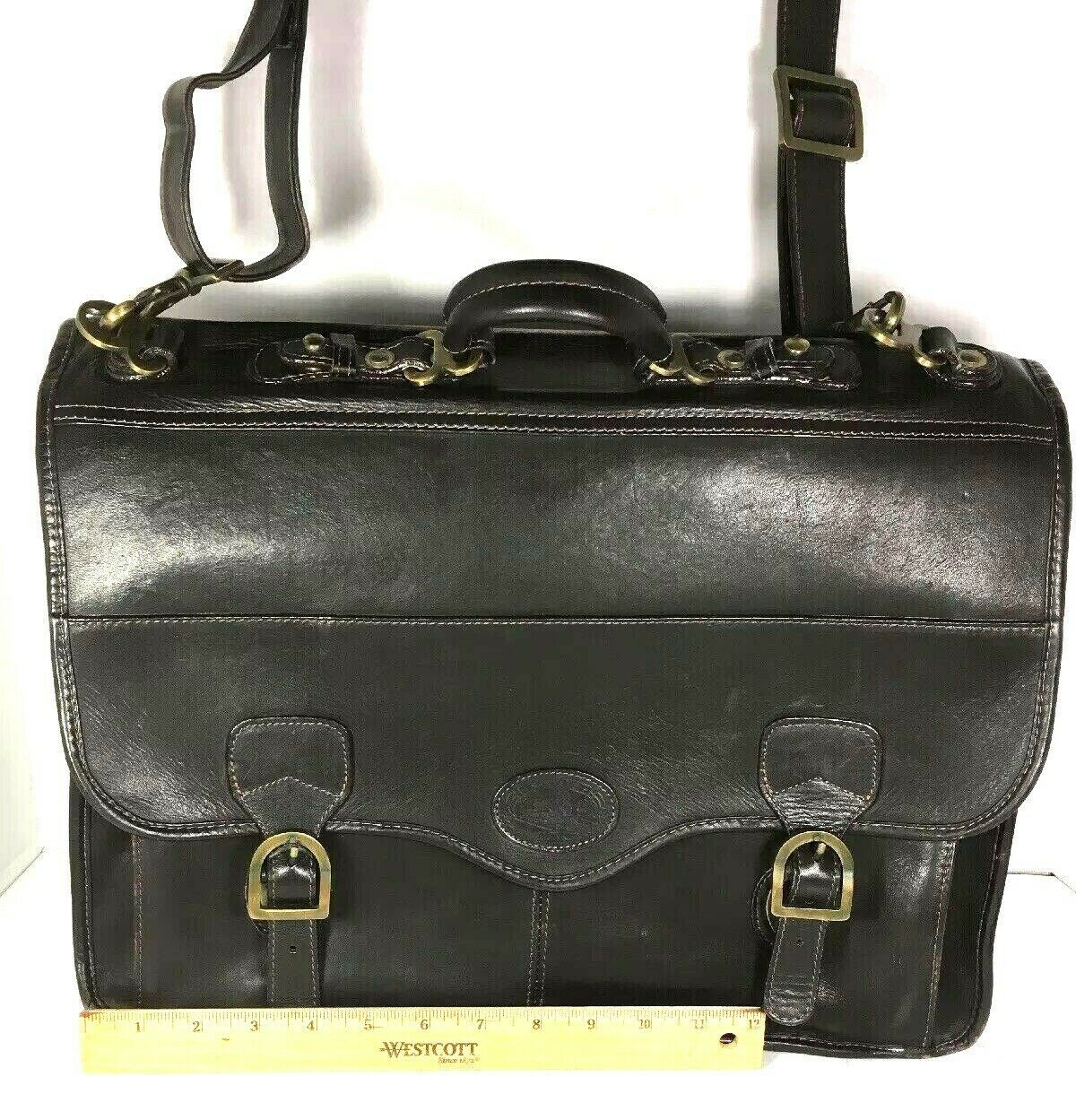 Santa Fe Dilana Vintage Dark Brown Leather Briefcase Laptop Bag – Distressed image 4