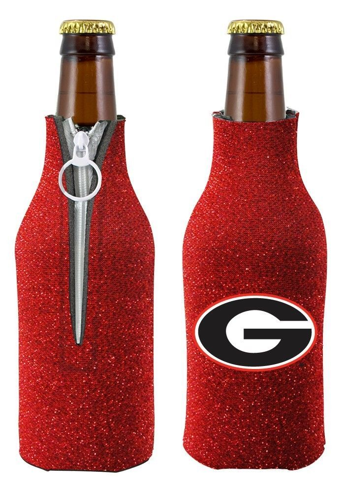2 GLITTER GEORGIA BULLDOGS BEER SODA WATER BOTTLE ZIPPER KOOZIE COOLIE HOLDERS