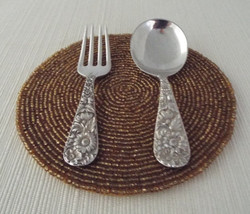 Vintage S. Kirk & Son Repousse Sterling Silver 3 3/4 Inch Baby Set Fork & Spoon - $229.99
