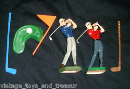 LOT OF VINTAGE GOLD GUYS FLAGS GREEN HOLE WILTON CAKE TOPPER CUPCAKE PIC... - $5.63
