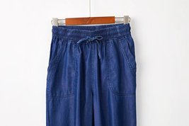 Light Blue Drawstring Elastic Waisted HAREM PANTS Denim CROP PANTS Trousers NWT image 8
