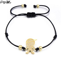 (gold boy black rope) PiPitree CZ Boys and Girls Charm Bracelet for Wome... - $20.00