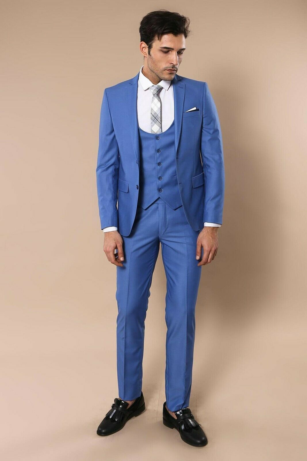 Primary image for Men Three Piece Vested Suit WESSI by J.VALINTIN Extra Slim Fit JV6 Sky Blue 3pc