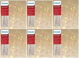 Philips C 30ct WARM WHITE DewDrop Lights COPPER WIRE Wedding Craft Bulk Lot of 6 image 1