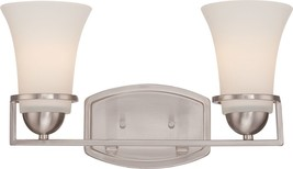 "Neval Brushed Nickel White Glass Wall Light 15""Wx9""H - $2.806,75 MXN"