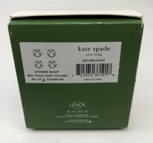 Kate Spade Lenox Donner Road Set of 4 Holiday Place Card Holders Silverplate  image 4