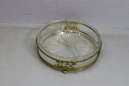 Vintage 4 Piece Vanity Set Gold Tone Trinket Jewelry Box Comb Brush Mirror image 7