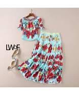 Designer Suit Set Slash Neck Blouse Top and  Gorgeous Floral Skirt - $128.99