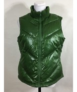 Retro Green Puffer Vest Womans Large Zip Up Quilted Fleece Lined Cozy Ol... - $27.04