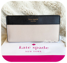 KATE SPADE LEATHER CAMERON LARGE SLIM BIFOLD WALLET IN BEIGE/BLACK - $64.23