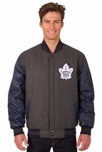 Toronto Maple Leafs Wool & Leather Reversible Jacket with Embroidered Logos Gray - $269.99