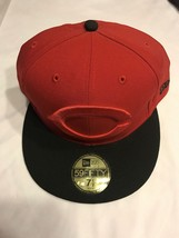 Team Cincinnati Reds MLB Cap size 7 1/2 New Era 59Fifty Red with black b... - $37.99
