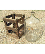 OLD BIG Distillata Glass Water Bottle Jug Cooler Wooden Crate - $204.99