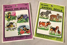 2 UNUSED VTG GUM BACK SEALS / STICKERS ANIMALS & BUZZY BEE SEALS 2 BOOKS... - $25.73