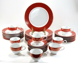 HUGE 40 Piece Set of Mikasa Fine China Parchment Red 8 Place Serving Din... - $224.99