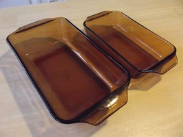 2 Anchor Hocking Glass Amber Loaf Pan Casserole Dish Ovenware 442 441 VINTAGE - $18.49