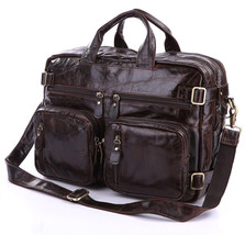 Men Genuine Leather Business Lawyer Briefcase Travel Luggage Military Ba... - $95.63