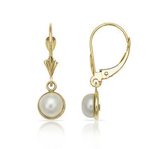 Pearl Ball Shape Bezel Set Drop Dangle Leverback Earrings 14K Solid Yell... - $133.64