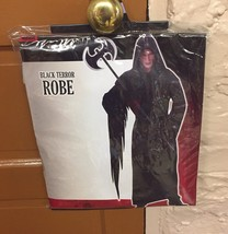New Grim Reaper Black Terror Robe Costume Adult Scary Halloween One Size - $15.79