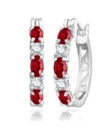 July Ruby 2.00 Ct Hoop Earrings with Diamonds in Sterling Silver - $49.49