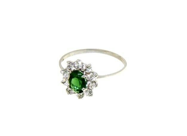 18K WHITE GOLD FLOWER RING OVAL GREEN CRYSTAL AND CUBIC ZIRCONIA FRAME