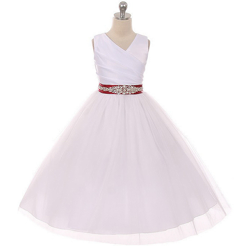 Primary image for White Sleeveless Spinning Satin Illusion Skirt Burgundy Sash Rhinestones Dress