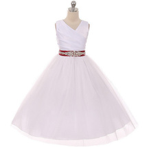 White Sleeveless Spinning Satin Illusion Skirt Burgundy Sash Rhinestones Dress - $52.95