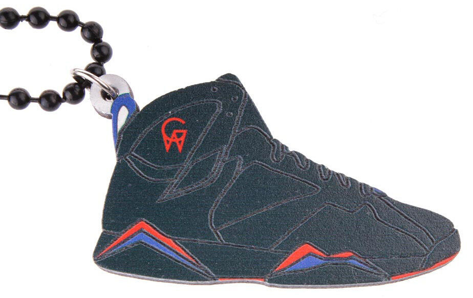 Good Wood NYC Raptor 7 Wooden Sneaker Necklace Red/Blue VII Shoe Kicks NEW