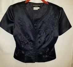Donna Morgan Royal Blue Embroidered Floral Jacket Size 4 STUNNING!! - $17.82