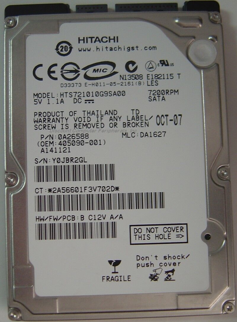 "NEW 100GB SATA HTS721010G9SA00 Hitachi 7200RPM 2.5"" 9.5MM hard drive"