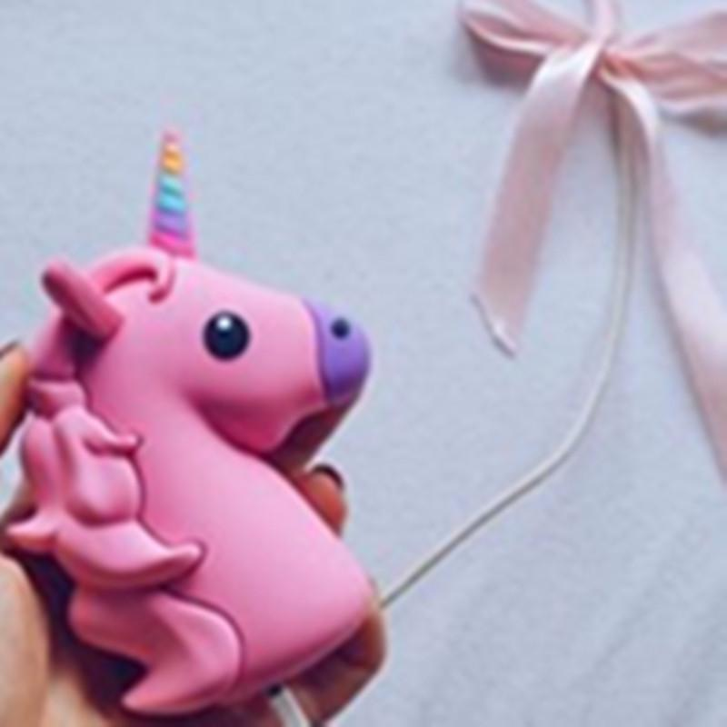 Portable Emoji Power Bank Battery case Charger Unicorn Cartoon USB For Iphone