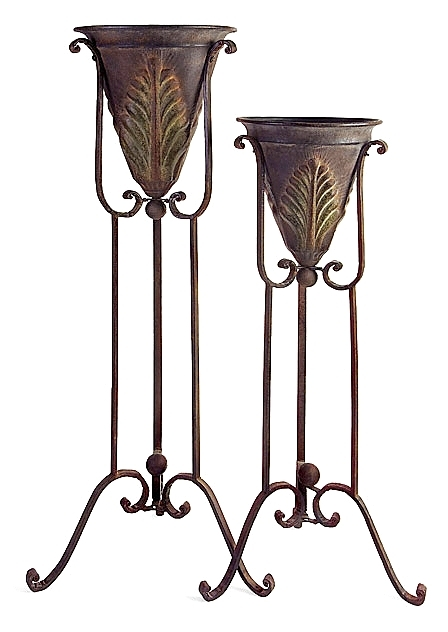 Set Of 2 Matching Acanthus Iron Plant Stands Indoor