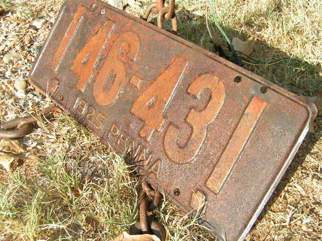 Antique Single 1925 PENNA metal License Plate Pennsylvania