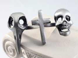Raven Cross Skull Double Finger Ring Antique Si... - $14.99