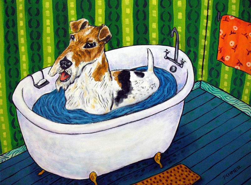 B175 16x20  fox terrier dog 8x10 signed art print bathroom animals impressionism