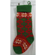 """Knit Christmas Stocking Red Green White 19"""" Long 7"""" Opening NEW - $17.61"""