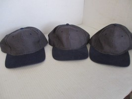 "LOT OF 3 NEW VINTAGE-NAVY BLUE+GOLD ""HOUNDSTOOTH"" CAPS/HATS-6 PANEL-HOOK... - $7.70"