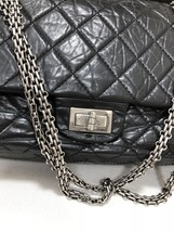 Auth Chanel Black 2.55 Reissue Quilted Age Calfskin 227 Jumbo Double Flap Bag  image 6