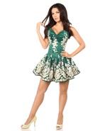 Elegant Green Floral and Satin Short Formal Corset Back Dress - $299.00