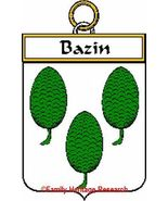 BAZIN French Coat of Arms Print BAZIN Family Crest - $25.00