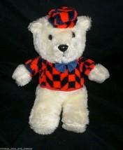 "10"" Vintage Baby White Ace Novelty Teddy Bear Stuffed Animal Plush Toy Red Black - $23.01"