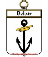 BELAIR French Coat of Arms Print BELAIR Family ... - $25.00