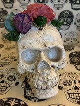 Day of The Dead Rose  Skull Figurine DOD Floral Halloween Decoration New - $23.51