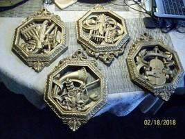 18#    HOMCO/DART, Set of 4 Resin Plaques #7402 Burnished Gold Color Instruments - $36.60