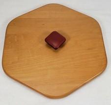 Longaberger 6 Sided Wood Lid ~ Red Knob  - $17.99