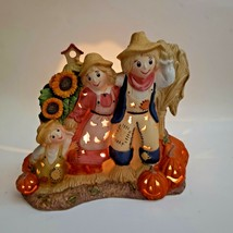 Scarecrow Family Tealight Candle Holder Hand-painted Porcelain Partylite... - $31.88