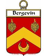 BERGEVIN French Coat of Arms Print BERGEVIN Fam... - $25.00