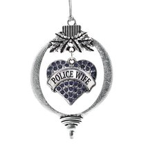 Inspired Silver Police Wife Pave Heart Holiday Christmas Tree Ornament With Crys - $14.69