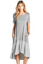 Gray Hi-low Striped Ruffle Hem Midi Dress  - $25.10